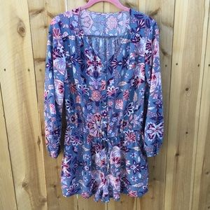 Old Navy Pants - Old Navy Long Sleeve Blue and Pink Floral Romper